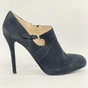 Nine West Marielle Blk Suede Bootie Heel Shoes 8.5